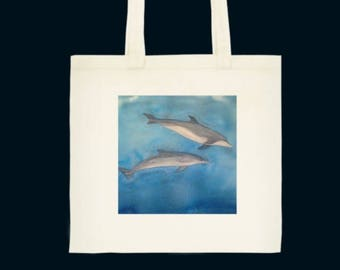 Dolphins Watercolour printed Tote bag