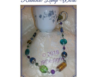 Rainbow Beaded, Multi Colored, Glass beaded, Lamp Work Beaded, Necklace, Green, Blue, Teal, Purple