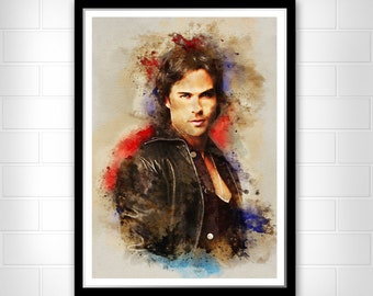 The vampire Damon Salvatore, watercolor wall art print, gift idea for girl friend's birthday, woman present, the vampire diaries poster