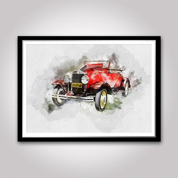 A5 Size Vintage Retro Old Car Watercolour Art Print A3 A4