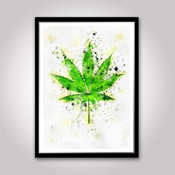 A3 A6 Botanical Poster MARIJUANA Retro Art Print CANNABIS ART SMOKE WEED