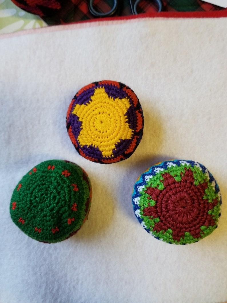 Bundle Of 3 Crocheted Hacky Sacks Etsy