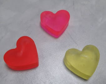 Soaps in the shape of hearts, in different colors and scents!