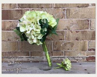 Hydrangea wedding bouquet with matching boutonniere/ hint of green