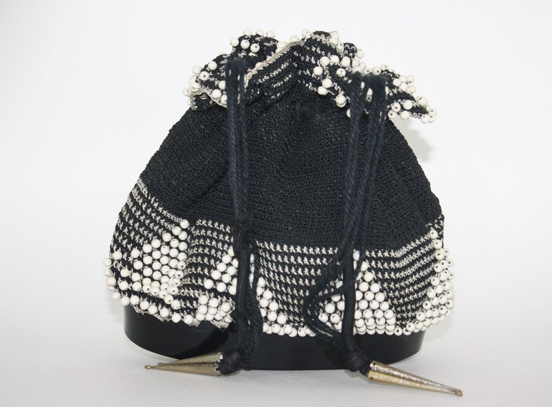 Vintage Crochet Drawstring Bag With Beads Etsy
