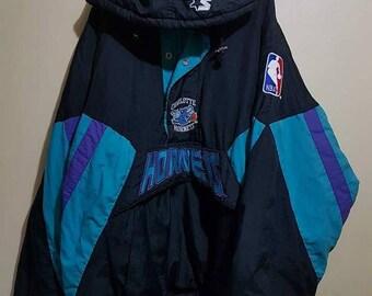 b74f9831ef2 Vintage 90 s Hornets NBA by Starter