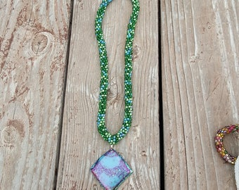 Glass bead necklace and glass fusion pendant