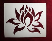 Tribal Lotus Flower Reusable Stencil Multiple Sizes to Choose From