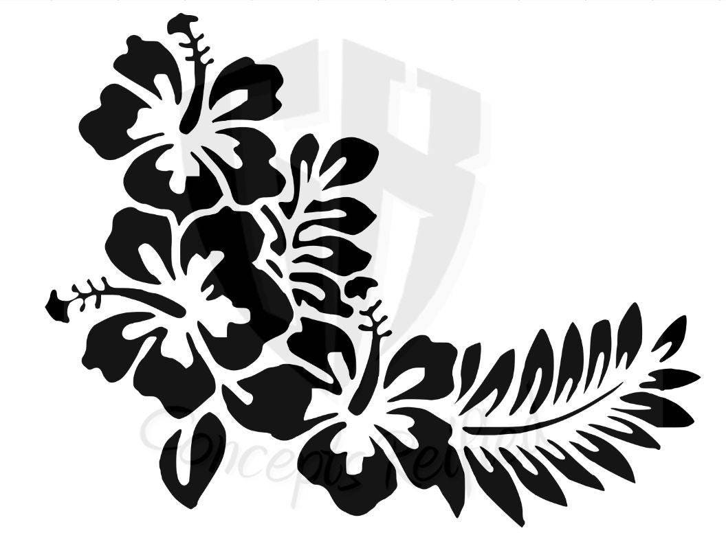 Instant download hibiscus flower with leaves stencil svg etsy zoom izmirmasajfo