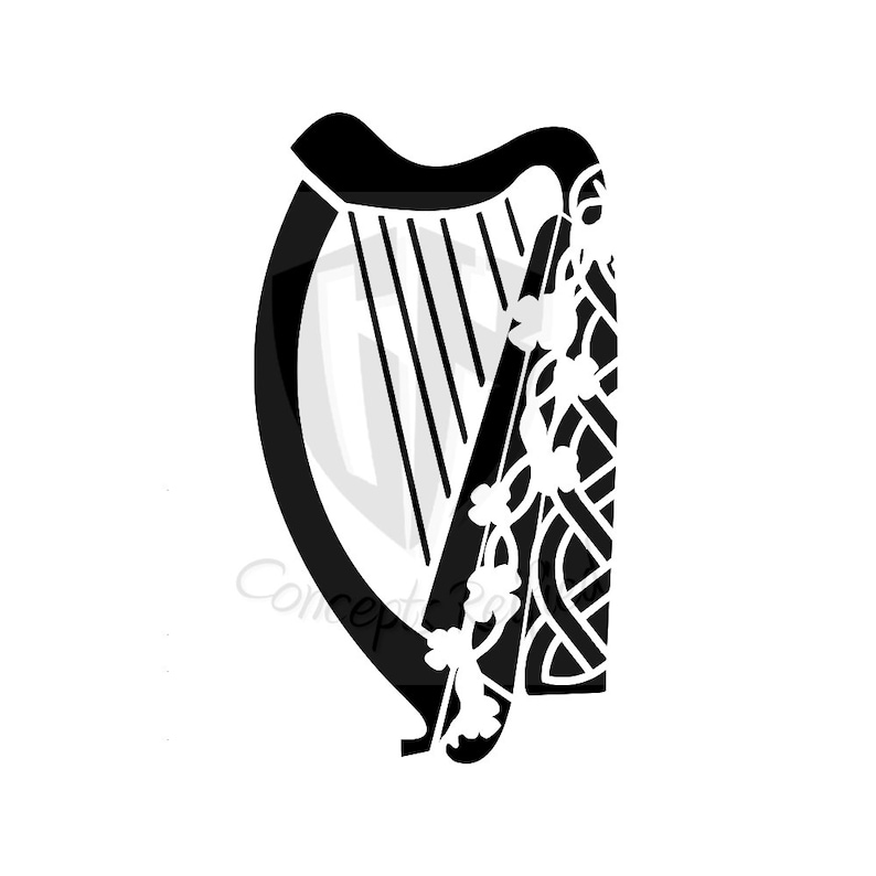 ff212cd92f16f Instant Download | Celtic Harp Stencil SVG Cut File