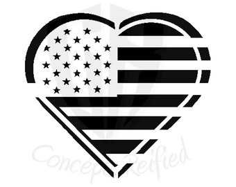 American Flag in the Shape of a Heart Reusable Stencil - Multiple Sizes to Choose From