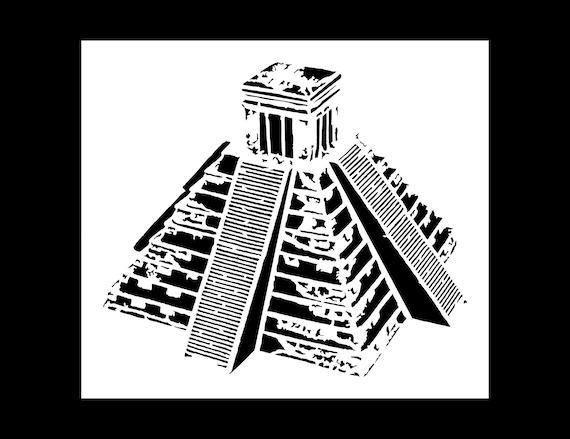 Mayan Temple Stencil Reusable 10 mil Mylar Stencil