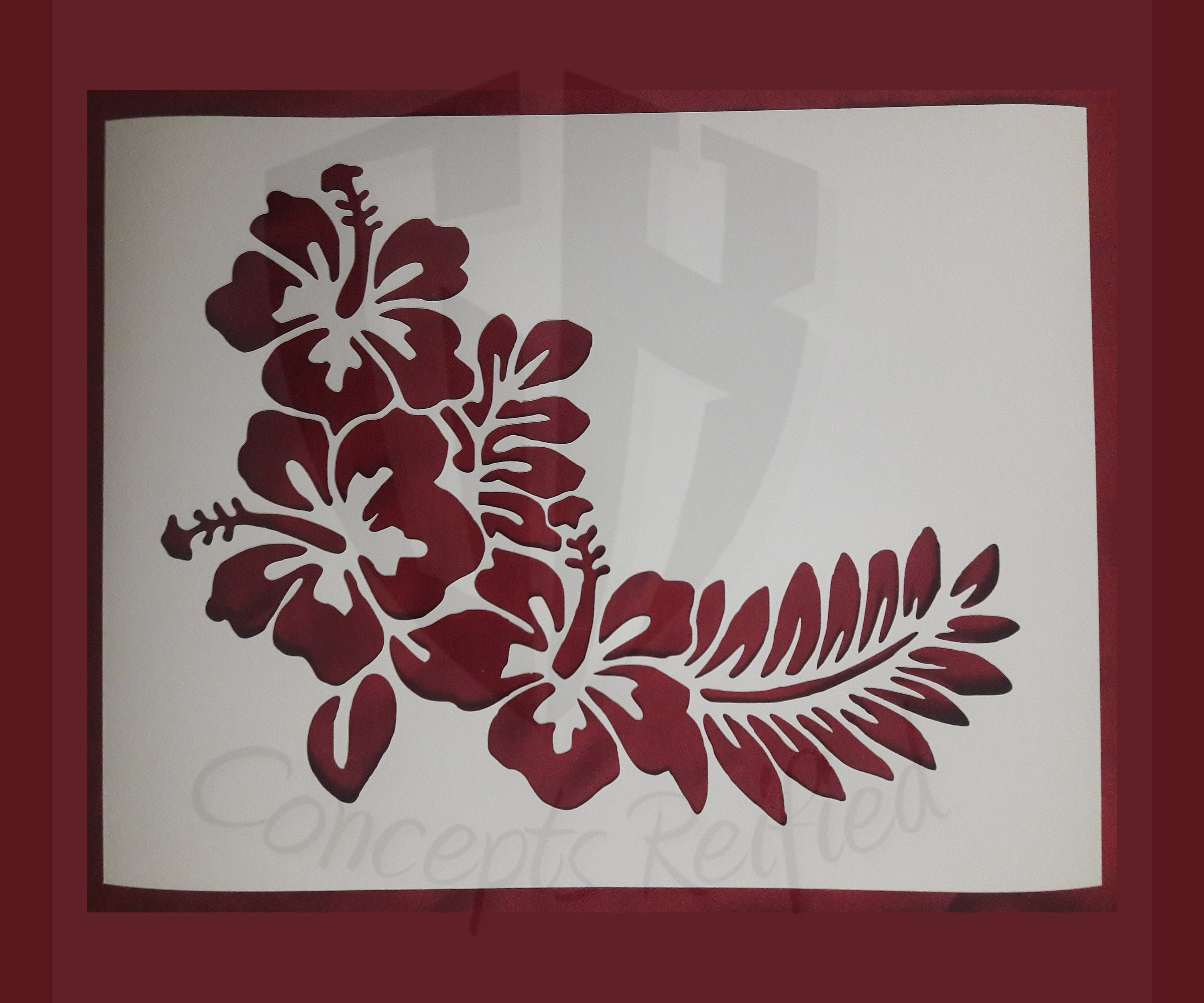 Hibiscus flower with leaves stencil multiple sizes available etsy zoom izmirmasajfo