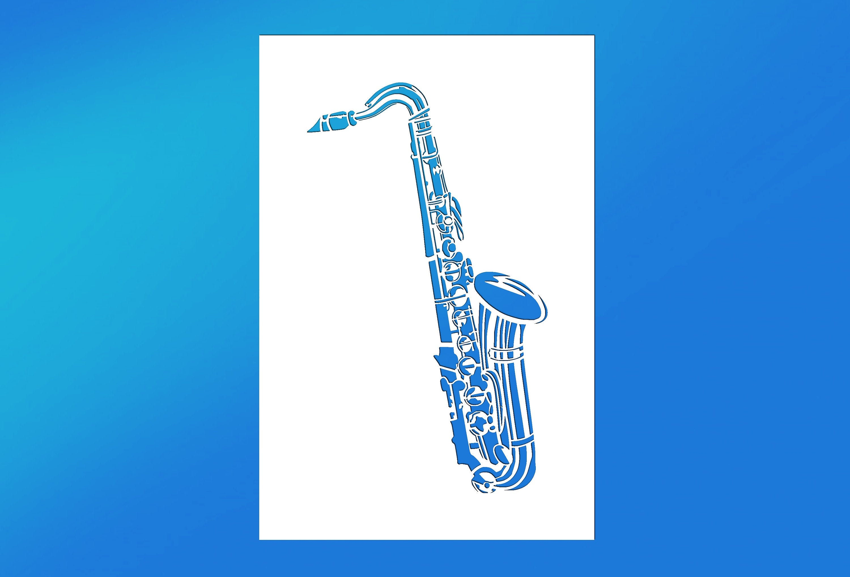 Art Supplies Saxophone Reusable Mylar Stencil
