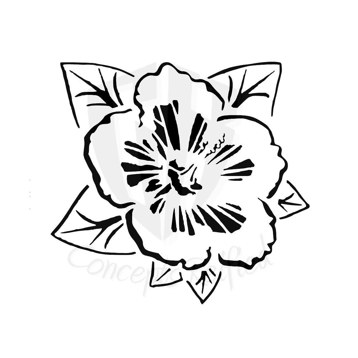 Instant Download Hibiscus Flower Stencil Svg Etsy