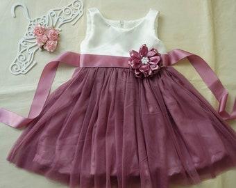104d838d4ed Ivory and dusty rose flower girl dress Rustic girl dress Tulle flower girl  dress Toddler girls dress Flower girl gown Baby girl dress