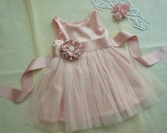 7ea06806ebe Blush flower girl dress Tulle flower girl dress Rustic flower girl dress  Flower girl gown Flower girls dress for wedding