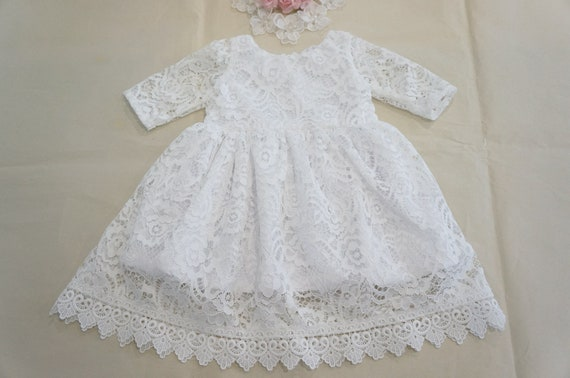 Beautiful Christening Gown Lace Baptism Dress Baby Girl Dress Communion Dress Blessing Gown White Girl Dress Baby Christening Rustic Lace