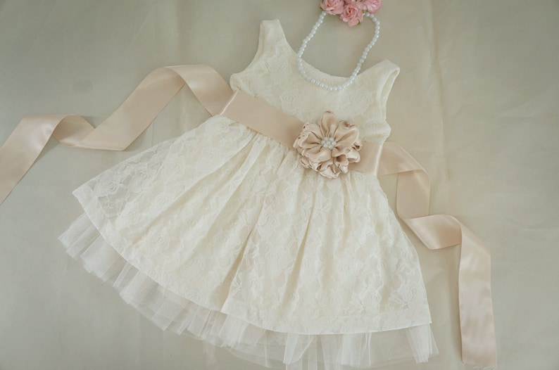 Ivory Lace Flower Girl Dress Etsy