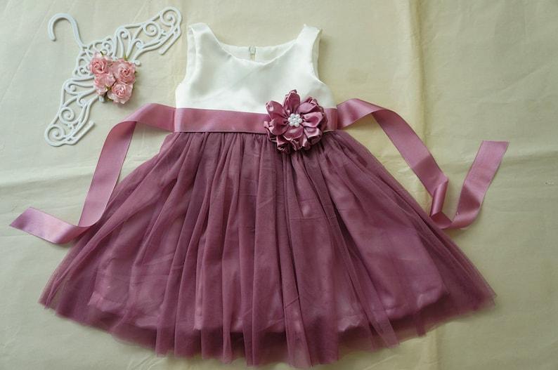 Ivory tulle flower girl dress Navy blue girl dress Flower girl dresses Little girl dress Country flower girls
