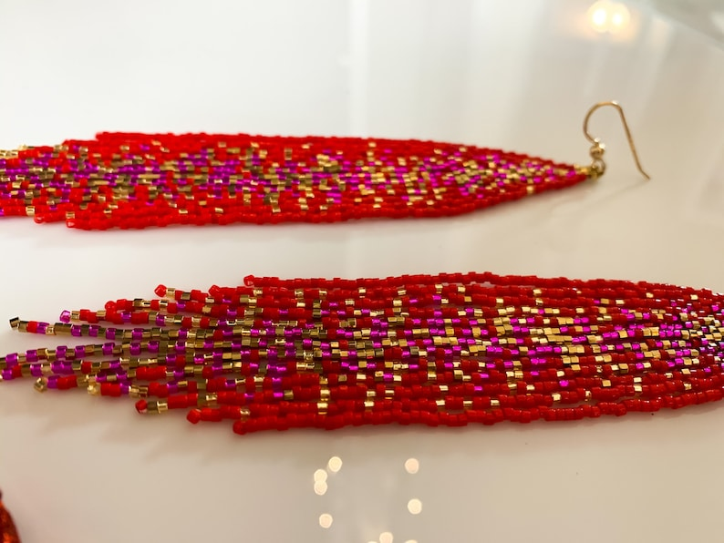 Red unique seed beaded earrings pink and gold galaxy beaded earrings Valentine\u2019s gift for her statement boho earrings