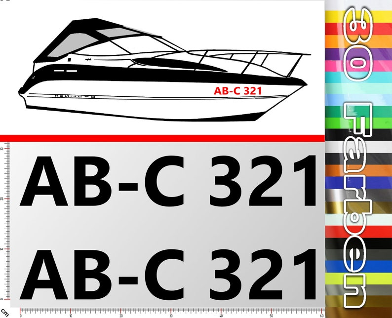 2 boat numbers in 10 CM font height  Official boat license image 0