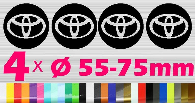 4 Toyota Hub cap Rim Sticker  Alloy rims Emblem Logo Sticker image 0