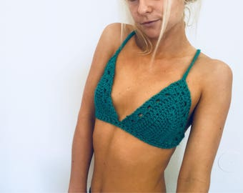 Crochet teal festival top, crossed open back, deep v neck