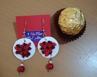Fimo Earrings with beaded flowers