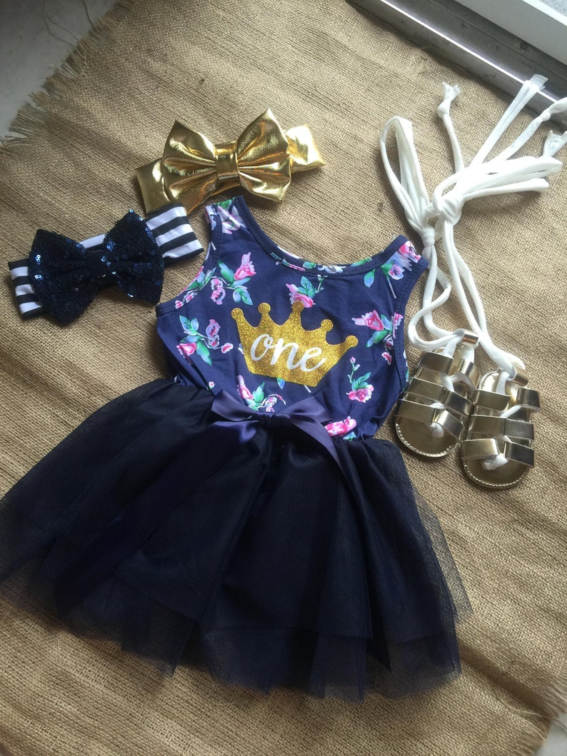 e11e550ca152b Free shipping to US and PR,Birthday Dress,One birthday dress,First Birthday  Dress,Blue navy floral dress,Princess One Year birthday