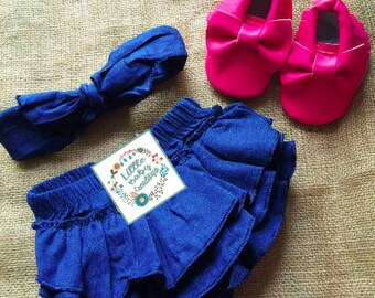 Free delivery,Denim bloomer,Denim diaper cover,Denim headband,Baby bloomer,Girl denim bloomer,Pink moccasins,Hot Pink shoes,Denim outfit