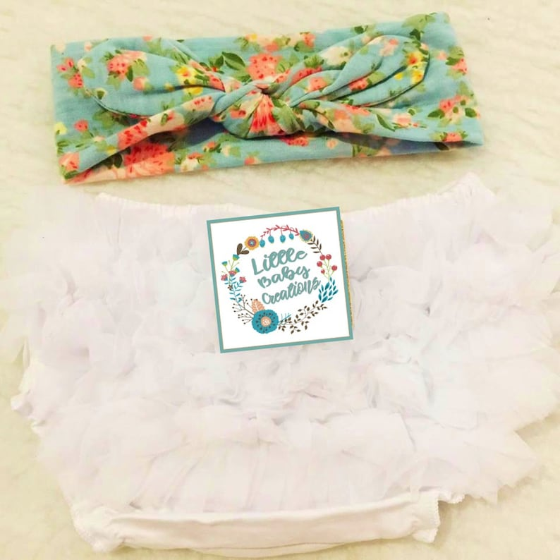 Free delivery,White Bloomer,Ruffle bloomer,Chiffon bloomer,Floral headband,Cotton bloomer,Girl bloomer,Diaper cover white