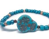 Turquoise Sugar Skull Bracelet Halloween Bracelet Day of the Dead