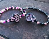 Pink Sugar Skull Bracelet Halloween Bracelet Day of the Dead
