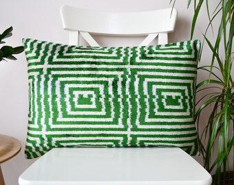 ikat pillow green, green silk velvet ikat pillow cover, green decorative ikat pillow, ikat lumbar pillow , accent throw pillow, living room