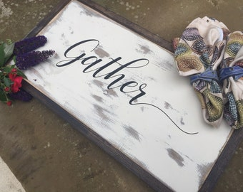 Gather Wood Sign - Home Decor - Painted Wood Sign-Reclaimed Wood-One of Kind