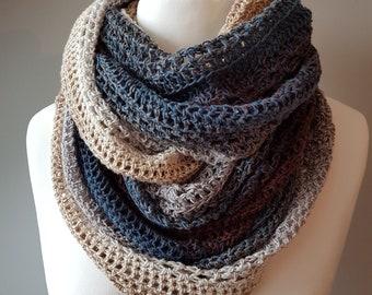 Handmade Crochet Giana Mobius Infinity Scarf Shawl in Mid-Morning Mocharoo Scheepjes Whirl