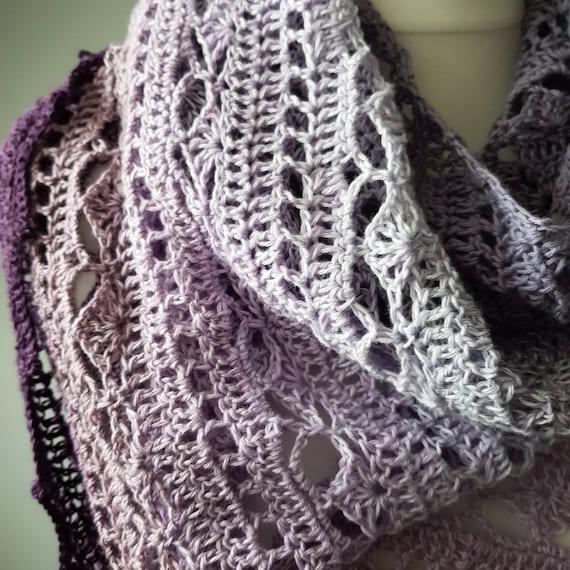 Bruinen Gehäkelter Schal In Lavenderlicious Scheepjes Wirbel Etsy