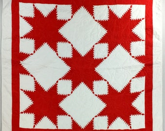 Red and White Feathered Edge Star- Bold Graphic look FINISHED QUILT