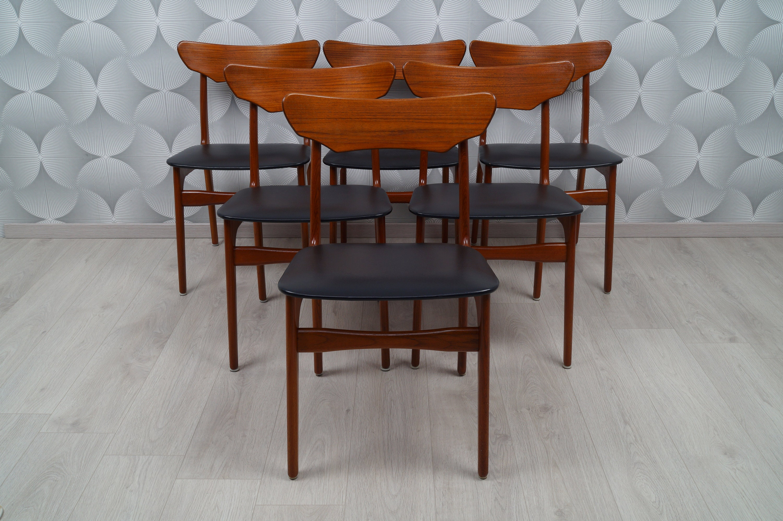 Set Of 6 Teak Dining Room Chairs 60s Schi Nning Elgaard Etsy