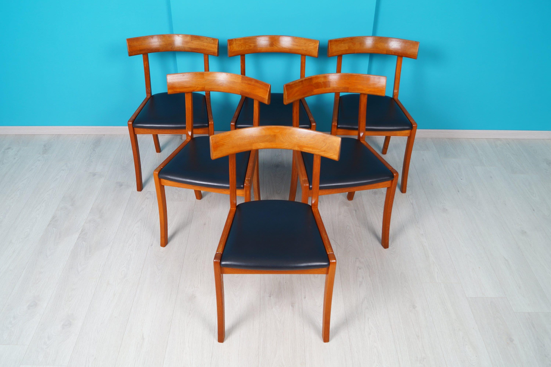 6er set teak dining room chairs 60s shape 75 danish modern