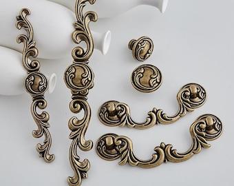 Antique Bronze Drawer Knobs Pulls Handles Drop Bail Pulls Dresser Knob  Cabinet Handle Vintage Kitchen Pull Vertical Back Plate Hardware