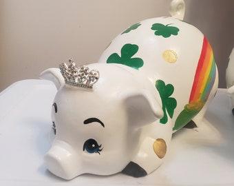 Shamrock Piggy Bank Etsy