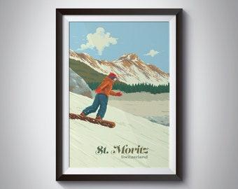 1913 Travel Print MORITZ GROSSE ENGADINER Vintage Ski Posters ST Swiss
