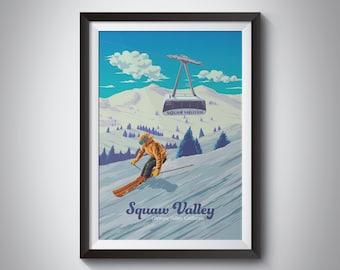 SQUAW VALLEY CALIFORNIA SKI WINTER SPORT ENJOY THE RIDE VINTAGE POSTER REPRO