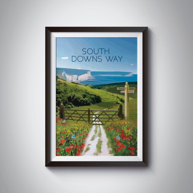 SUSSEX SOUTH DOWNS RETRO VINTAGE RAILWAY TRAVEL POSTER RAIL ADVERITISNG ART
