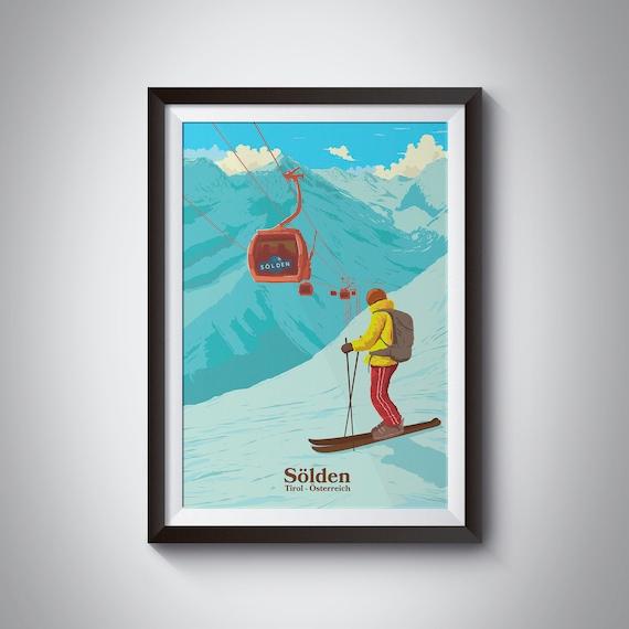 VINTAGE DOWNHILL SKIER MENS RETRO PHOTO PRINT SKI SEASON T-SHIRT