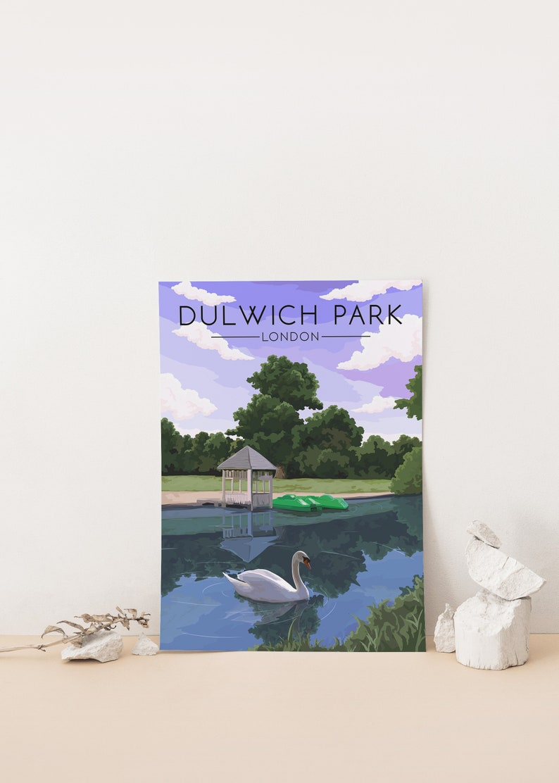 Boating Lake Dulwich Park London Poster Southwark Parkrun Travel Print Dulwich Village South East London Wall Art Decor Pond