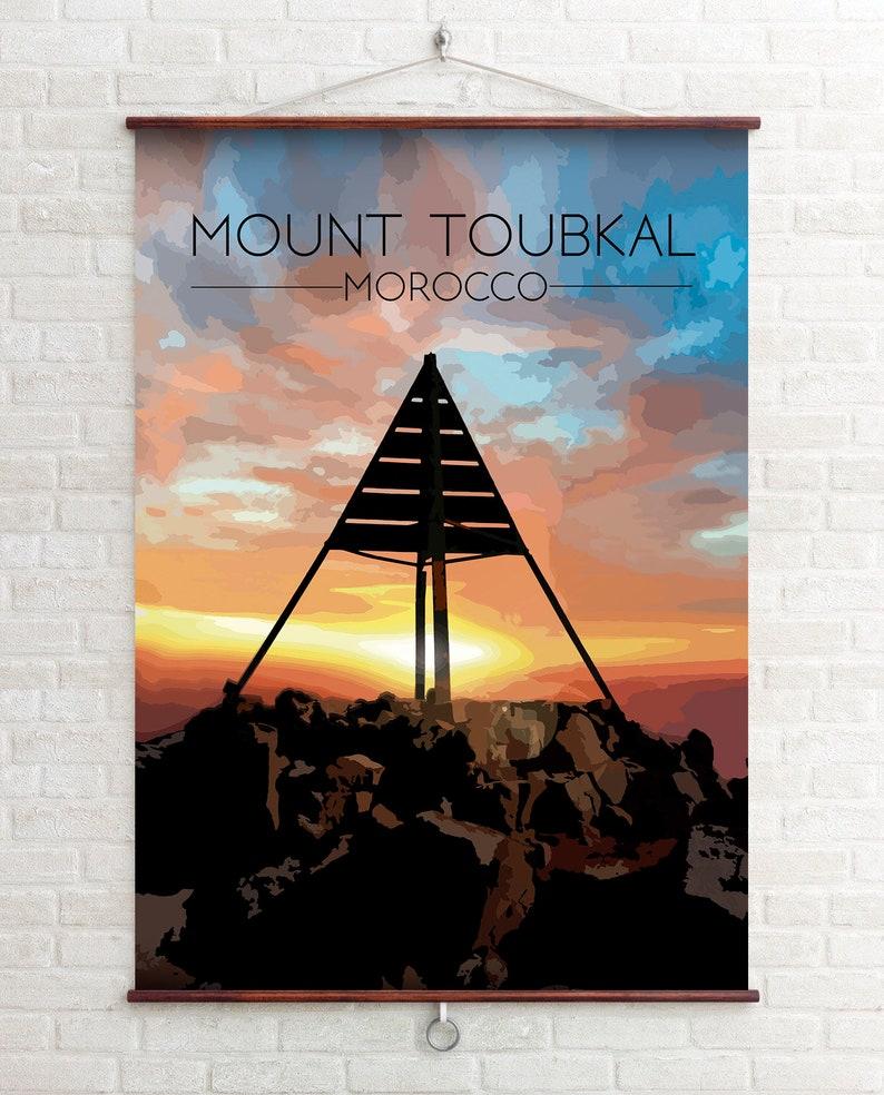 North Africa Morocco Travel Poster Marrakech Atlas Mountains Morocco Gift National Park Poster Moroccan Art Mount Toubkal Print