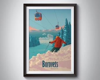 Borovets Ski Resort Poster, Bulgaria Travel Print, Skiing Wall Art, Bulgarian, Ski Gondola Print, Rila Mountains, Bansko, Snowboarding, Gift